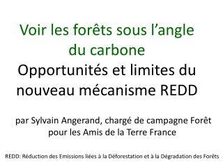 Voir les forêts sous l'angle du carbone O pportunités  et limites du nouveau mécanisme REDD