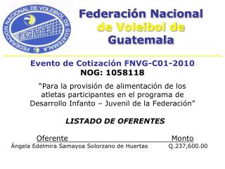 Federación Nacional de Voleibol de  Guatemala