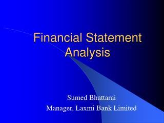 Financial Statement Analysis Sumed Bhattarai
