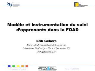 Modèle et instrumentation du suivi d'apprenants dans la FOAD