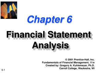 6-1 Chapter 6 Financial Statement Analysis