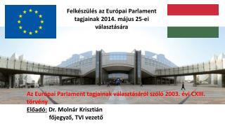 A z  Európai Parlament tagjainak  választásáról szóló 2003 . évi CXIII. törvény