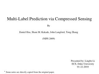 Multi-Label Prediction via Compressed Sensing