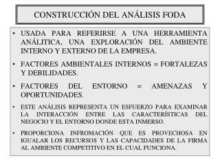 CONSTRUCCIÓN DEL ANÁLISIS FODA