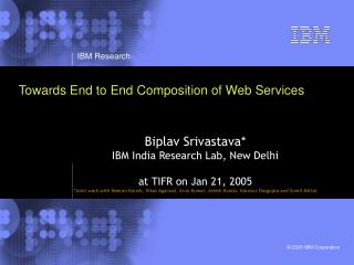 Towards End to End Composition of Web Services