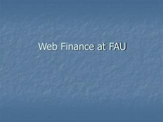 Web Finance at FAU