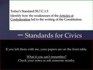 一  Standards for Civics