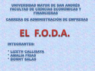 UNIVERSIDAD MAYOR DE SAN ANDRÉS FACULTAD DE CIENCIAS ECONÓMICAS Y FINANCIERAS
