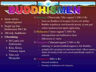 fjärde största världsreligionen lösgör sig från hinduismen 500 f Kr 360 milj. buddhister
