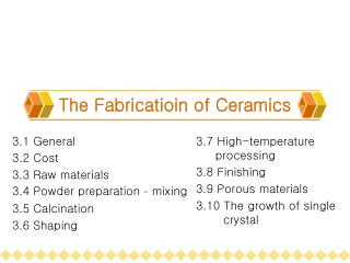 The Fabricatioin of Ceramics