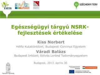 Egészségügyi tárgyú  NSRK-fejlesztések  értékelése