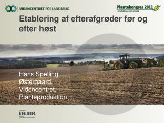 Etablering af efterafgrøder før og efter høst