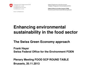 Plenary Meeting FOOD SCP ROUND TABLE Brussels, 20.11.2013