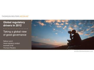 Nathan Lynch Head regulatory analyst Australia & NZ Thomson Reuters