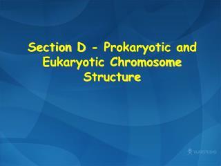 Section D - Prokaryotic and Eukaryotic Chromosome Structure