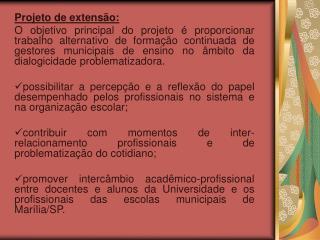 Projeto de extensão: