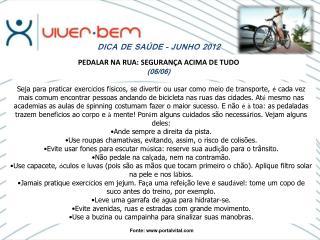 DICA DE SAÚDE – JUNHO 2012