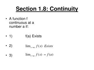 Section 1.8: Continuity