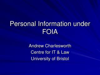 Personal Information under FOIA