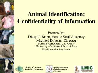 Animal Identification: Confidentiality of Information