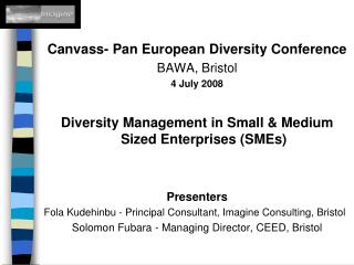 Canvass- Pan European Diversity Conference BAWA, Bristol 4 July 2008