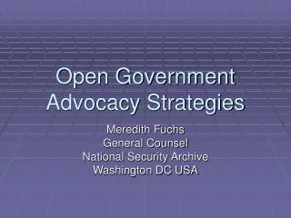 Open Government  Advocacy Strategies