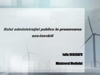 Rolul administraţiei publice în promovarea eco-inovării