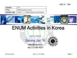 ENUM Activities in Korea