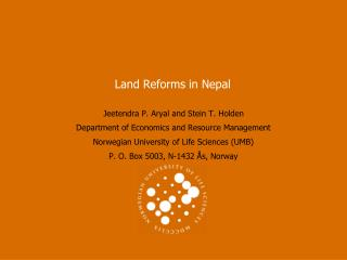 Land Reforms in Nepal