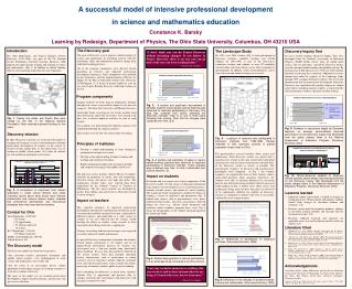 A successful model of intensive professional development  in science and mathematics education Constance K. Barsky Learn