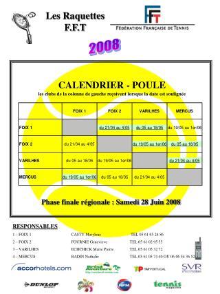 CALENDRIER - POULE les clubs de la colonne de gauche reçoivent lorsque la date est soulignée