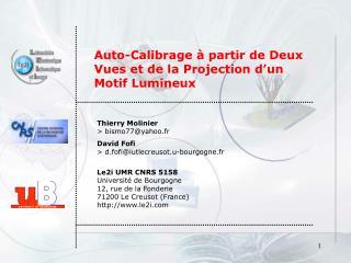 Auto-Calibrage à partir de Deux Vues et de la Projection d'un Motif Lumineux