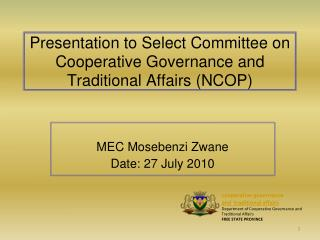 Presentation to Select Committee on Cooperative Governance and Traditional Affairs (NCOP)