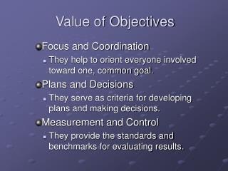 Objectives and Budgeting