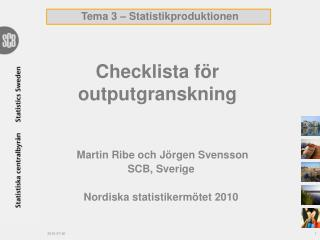 Checklista för outputgranskning