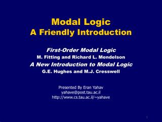 Modal Logic A Friendly Introduction