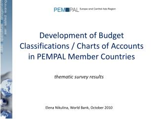Development of Budget Classifications / Charts of Accounts in PEMPAL Member Countries