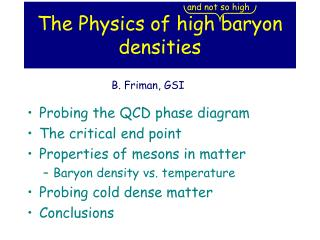 The Physics of high baryon densities