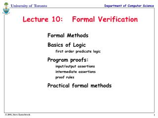 Lecture 10:   Formal Verification