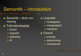Semantik � introduktion