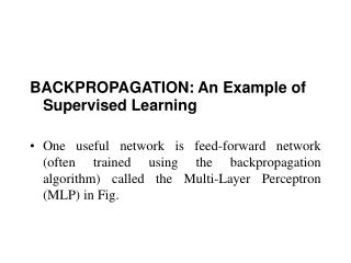 BACKPROPAGATION: An Example of Supervised Learning