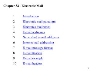 Chapter 32 - Electronic Mail 	1 	 Introduction 	2 	 Electronic mail paradigm