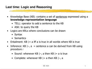 Last time: Logic and Reasoning