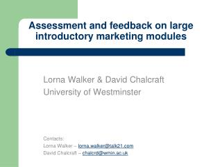Assessment and feedback on large introductory marketing modules
