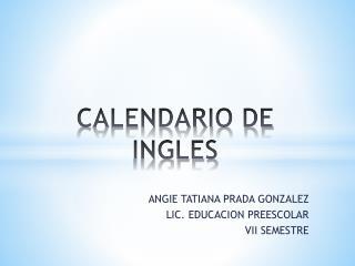CALENDARIO DE INGLES