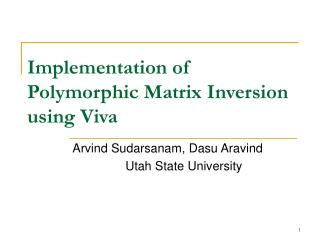Implementation of Polymorphic Matrix Inversion using Viva