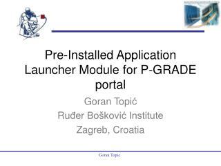 Pre-Installed Application Launcher Module for P-GRADE portal