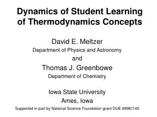 Dynamics of Student Learning of Thermodynamics Concepts