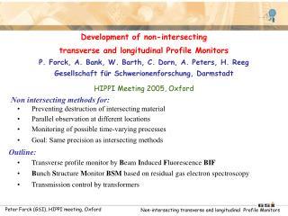 Development of non-intersecting  transverse and longitudinal Profile Monitors