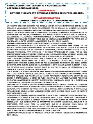 CAMPO FORMATIVO:  LENGUAJE Y COMUNICACIÓN ASPECTO: LENGUAJE ORAL COMPETENCIA